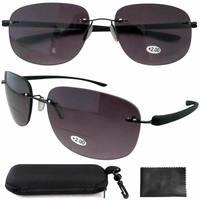 SR14001 New Lightweight Aviator Readers Rimless Bifocal Sunglasses W/case+1.00/+1.25/+1.50/+1.75/+2.00/+2.25/+2.50B-G