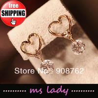 Free Shipping! Heart Crystal Drop Earrings Jewelry Fashion women Earring 12 pairs/lot HK Airmail