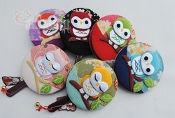 Japan style cartoon owl Circular design cosmetic mirror, carry small mirror & Makeup Mirror free shipping(China (Mainland))