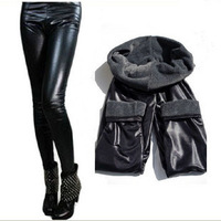 Free shipping,Fashion matt faux leather legging autumn female plus size winter plus velvet thickening ankle length trousers 2