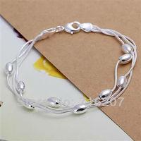H236 Free Shipping 925 Silver Bracelet Fashion Jewelry Bracelet  Three-wire light bead bracelet awqa jnxa