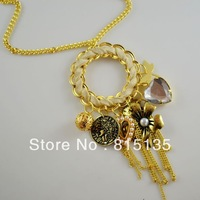 Popular flower, leaves with heart pendant tassel long necklace