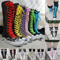EMO PUNK Rock women's shoes paltform canvas shoes Sneaker casual shoes canvas boots Knee High Lace Up