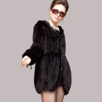 knitted Mink fur coat with hooded women's mink fur jacket winter mink fur waistcoats Free shipping EMS TF0283