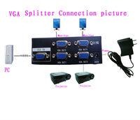 Free Shipping 1 PC to 4 port VGA Video Splitter,SVGA LCD Video Monitor Converter /projector converter