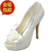 Aineny99New Ivory White Peep Toe Inside Platform Stiletto Heel Satin Wedding Bridal Shoes Custom Made Flower Free Shipping L168