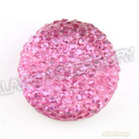 New Arriva 120pcs/lot Pink Round Flatback Rhinestone Epoxy Resin Button Beads Accessory For  Sew-on Garment&amp;amp;Bag 18*18mm 241036