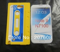 Soft Tape Vintage Cassette Silicone Gel Colorful Back Case for Samsung Note II N7100 50PCS /Lot