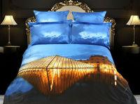 blue gold color cool duvet covers 3d bedding set 4pcs modern duvet cover set skirted bedspread for Queen King bed