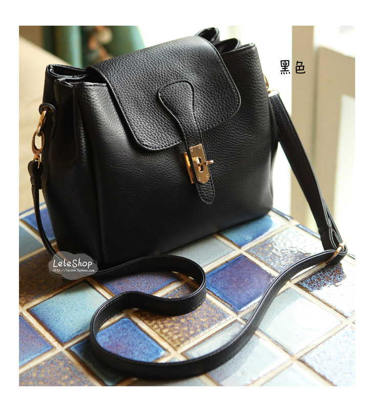 Free Shipping Shoulder bag Black Leather Message Handbage Ladt favorite Star style Big Bag Good sale(China (Mainland))