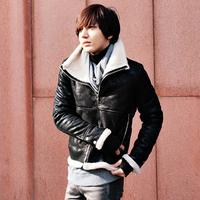Free shipping 2014 large lapel Berber fleece jacket leather garment design boys long sleeve thermal clothing