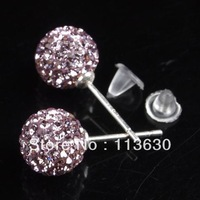 Light Amethyst Crystal Disco Ball True 925 Silver Earring Stud