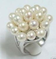 Beautiful fashion white natural pearl ring gift 18