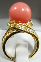 South Seas 10mm pink coral color shell bead ring revision birthday gift