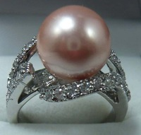 South Seas 10mm purple shell pearl ring silver birthday gift 88