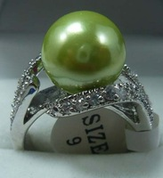 South Seas 10mm green sallei pearl ring silver gift 81