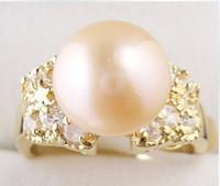 Beautiful fashion pink natural pearl ring gift 2