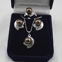 South Seas sallei pearl 10mm coffee sallei pearl set gift 79