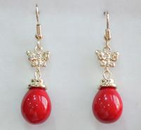 South Seas drop red butterfly sallei pearl earrings gift
