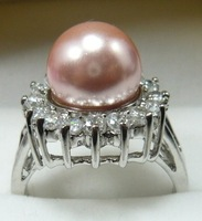 South Seas 10mm pink shell bead ring silver birthday gift