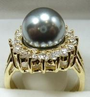 South Seas 10mm grey shell bead ring revision birthday gift