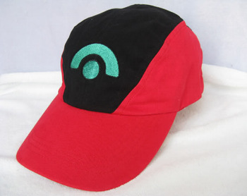 Free shipping (10pieces/lot) 100% cotton POKEMON ASH KETCHUM COSTUME Cosplay Hat Visor Cap Black