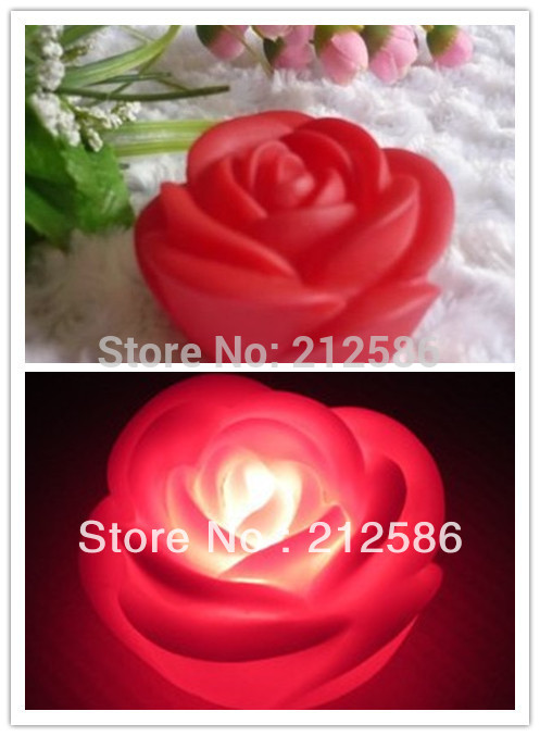 Free shipping 20pcs/lot RED Rose LED Night Light Lamp Valentine's Day Gift Wedding Decoration(China (Mainland))