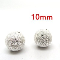 wholesale 100pcs Silver Plated Stardust Spacer Beads 10mm Dia.(w00137)