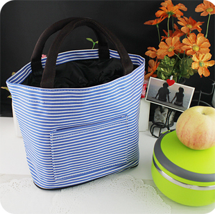 cute Cartoon  Drawstring cooler  lunch bag Fashion Stripe round lunch box bags/Life storage package
