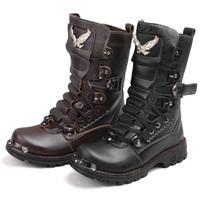 Free shipping men's rivet boots knee-high califs eagle boots