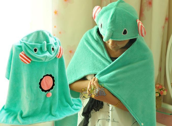 HIGH QUALITY soft coral fleece bath towel sentimental circus blanket elephant plush animal applique print novelty cute with hat(China (Mainland))