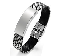 New Arrival Super Korea Fashion Men's 316L Stainless Steel Genuine PU Leather Cuff Bracelet Bangle