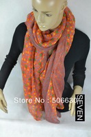 Free Freight women's  orange scarf autumn and winter nice modern  style long design silk scarf Seven-scarf-030