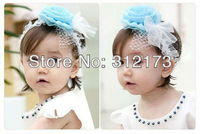 FREE SHIPPING----baby girl headband children hair accessories infant lace grenadine flowers hair band girl's headwear 2pcs/lot