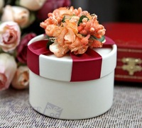 The Candy Gifts Chocolate Handmade Favors Boxes With Orange Flower And Red Ribbon  Free Shipping Wholesaleesale Free Shipping