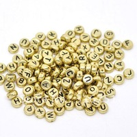 Free Shipping 500 Random Mixed Acrylic Gold Tone Letter Spacers Beads 7mm Dia.(W01866X 1)