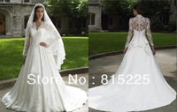 Charming Muslim Stunning Wedding Dresses Bridal Gown A-Line With Long Sleeves Jacket Lace Applique Chapel Train Button Back Hot