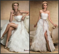 Free Shipping Custom Made Cheap Price High Slit Wedding Dress/Bridal Dress R-46