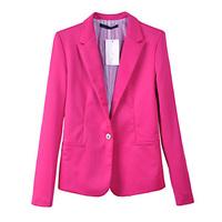 Spring & autumn new arrival women's sweet candy color long-sleeve blazer long design slim suit jacket