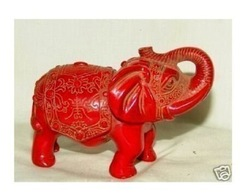 Collectible red stone carved elephant statue(China (Mainland))