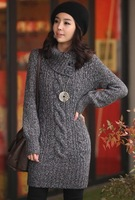 Free shipping 2012 autumn and winter fashion ladies sweater,  16% wool women's  sweater dress women's winter outerwear 3 size