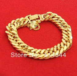 GPB021 Free Shipping 24K Yellow Gold Plated 11.5MM Tabular Twist Chain Men Bracelet / Charmhouse 2013 Fashion Jewelry(China (Mainland))