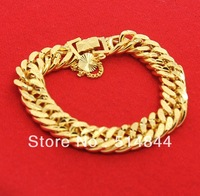 GPB021 Free Shipping  24K Yellow Gold Plated 11.5MM Tabular Twist Chain Men Bracelet  / Charmhouse 2013 Fashion Jewelry