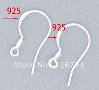 1000PCS 14MM 925 Sterling Silver polish hook coil ear wire Earrings(W00399)