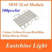500pcs/lot 5050 3 LED Module Yellow/Green/Red/Blue/White/Warm White Waterproof IP65 DC12V+Discount Ship