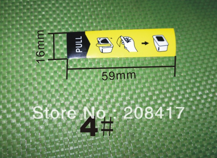 (ACC-YT1) yellow tag label air duct film for Epson Canon Lexmark Kodak ink cartridge air hole size 4# 16*59mm free shipping dhl(China (Mainland))