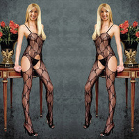 Free shipping Women sexy one piece 3 holes fishnet stockings net cutout lutun transparent temptation pantyhose