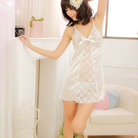 Free shipping Pure sexy sleep set lace cutout faux silk women's silky spaghetti strap nightgown