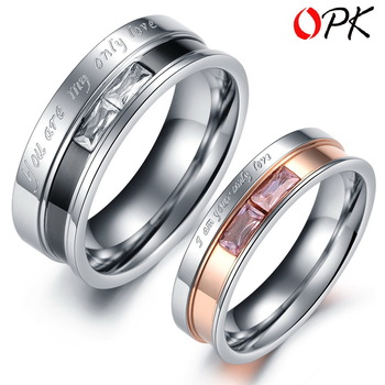 OPK JEWELRY Gift Box Packing Couple Stainless Steel Crystal Ring for Couple Wedding lady size 5/6/7/8/9 Men size 7/8/9/10/11/12