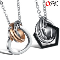 "OPK JEWELRY pendant necklace stainless steel couple necklaces lover's jewelry handmade engraved "" dream come true""  777"